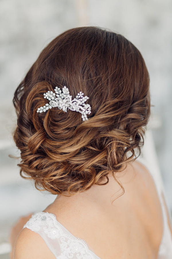 elegant wedding hairstyles-with Bride headwear
