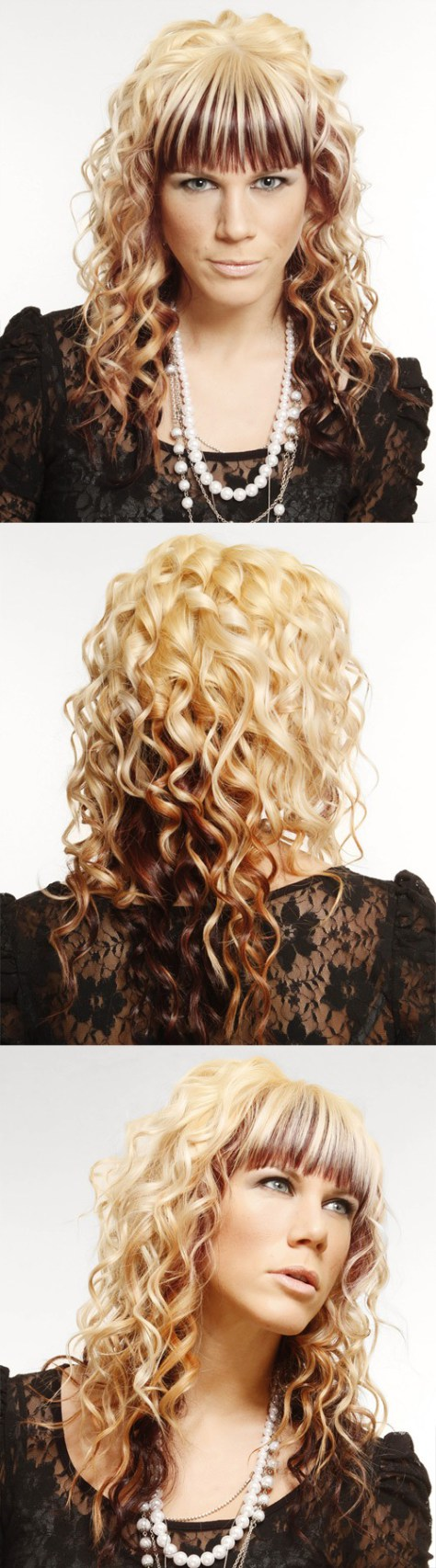 Light blond curly hair with bangs