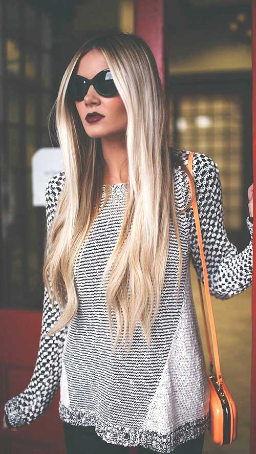 Straight hairstyles for long blond hair