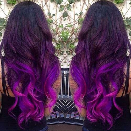 Brown to purple ombre hair