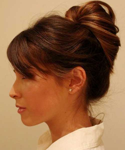 Bun hairstyles with bangs