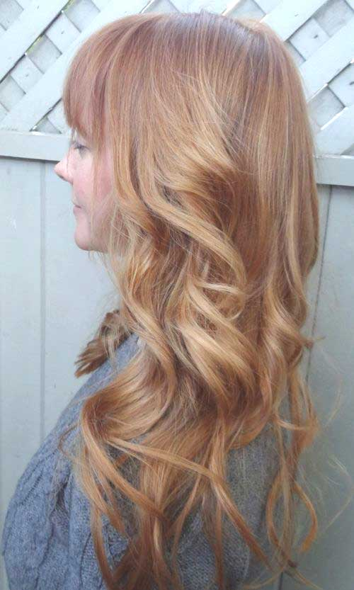 Light strawberry blonde long hairstyles