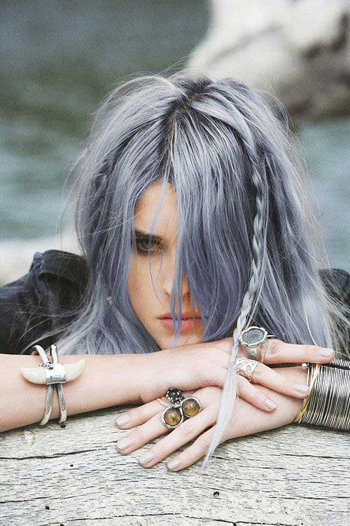 Hairstyles for gray blue hair