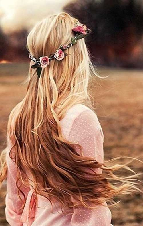 Long haired blond hairstyles with flowers