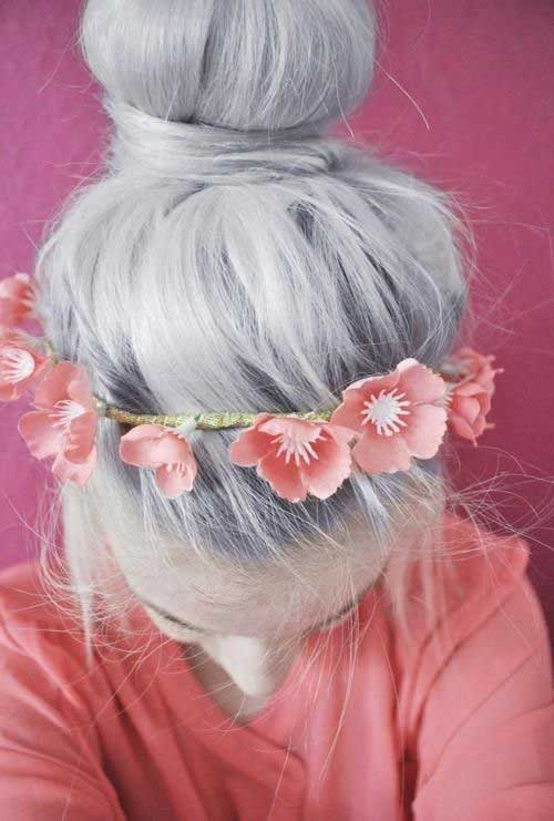 Gray hairstyles buns