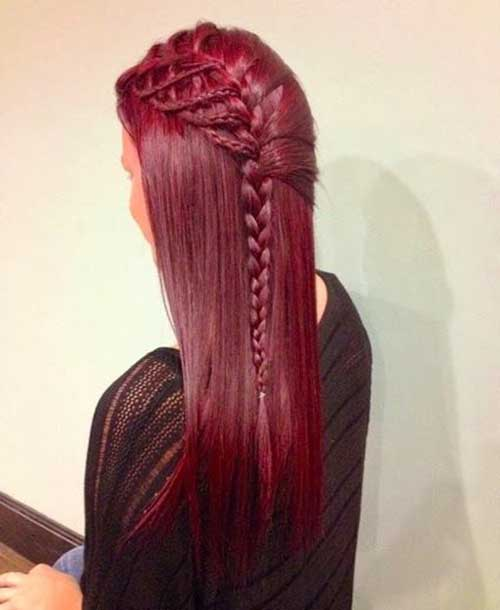 Braided red long hair colors