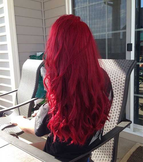 Long Bright Red Hair Color Styles