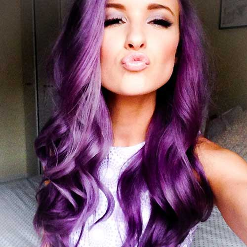 Purple color for long hairstyles