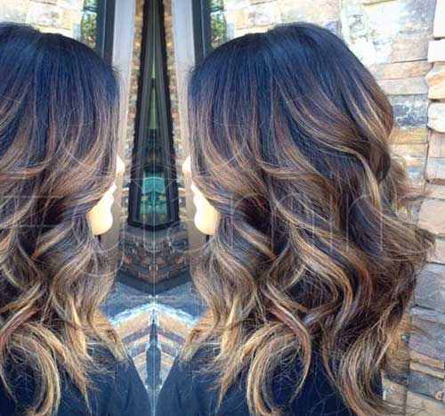 Dark brown ombre highlighted hairstyles