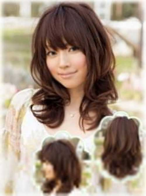Asian hairstyles for long curly hair with bangs