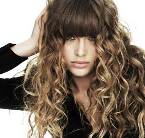 Best long curly hair with bangs