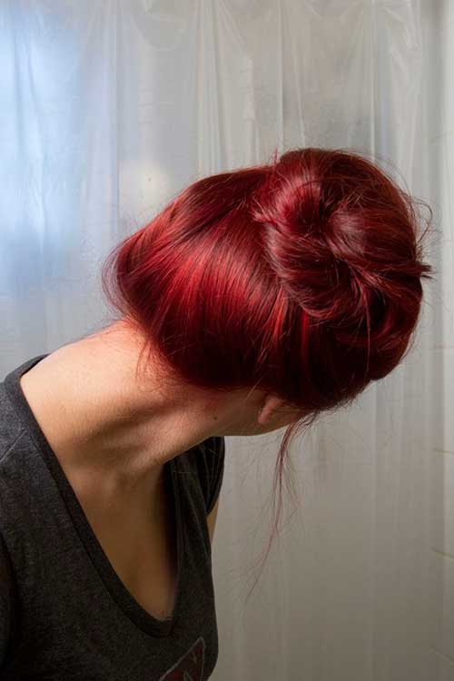 Beautiful red hair colors bun