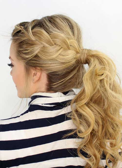 French Side Braid in Ponytail