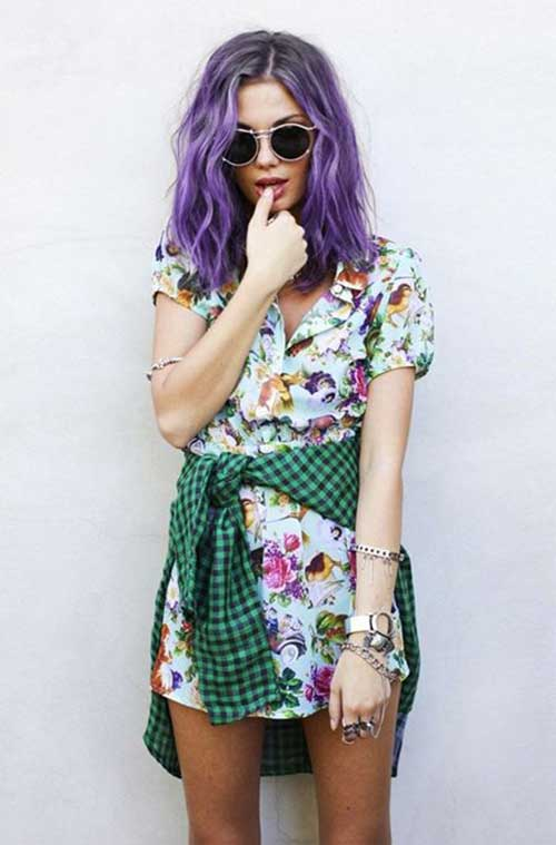 Stylish purple hair color