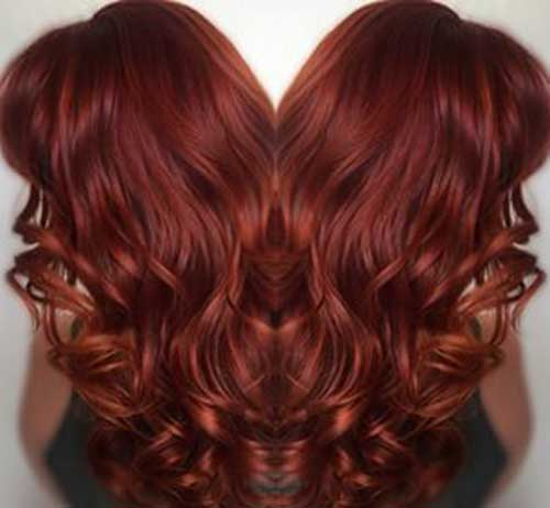 Red curly long hair color styles