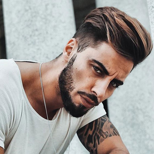 Quiff + Low Taper Fade + Thick Beard