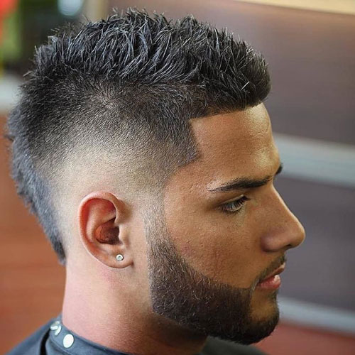Skin Fade Faux Hawk with a thick beard