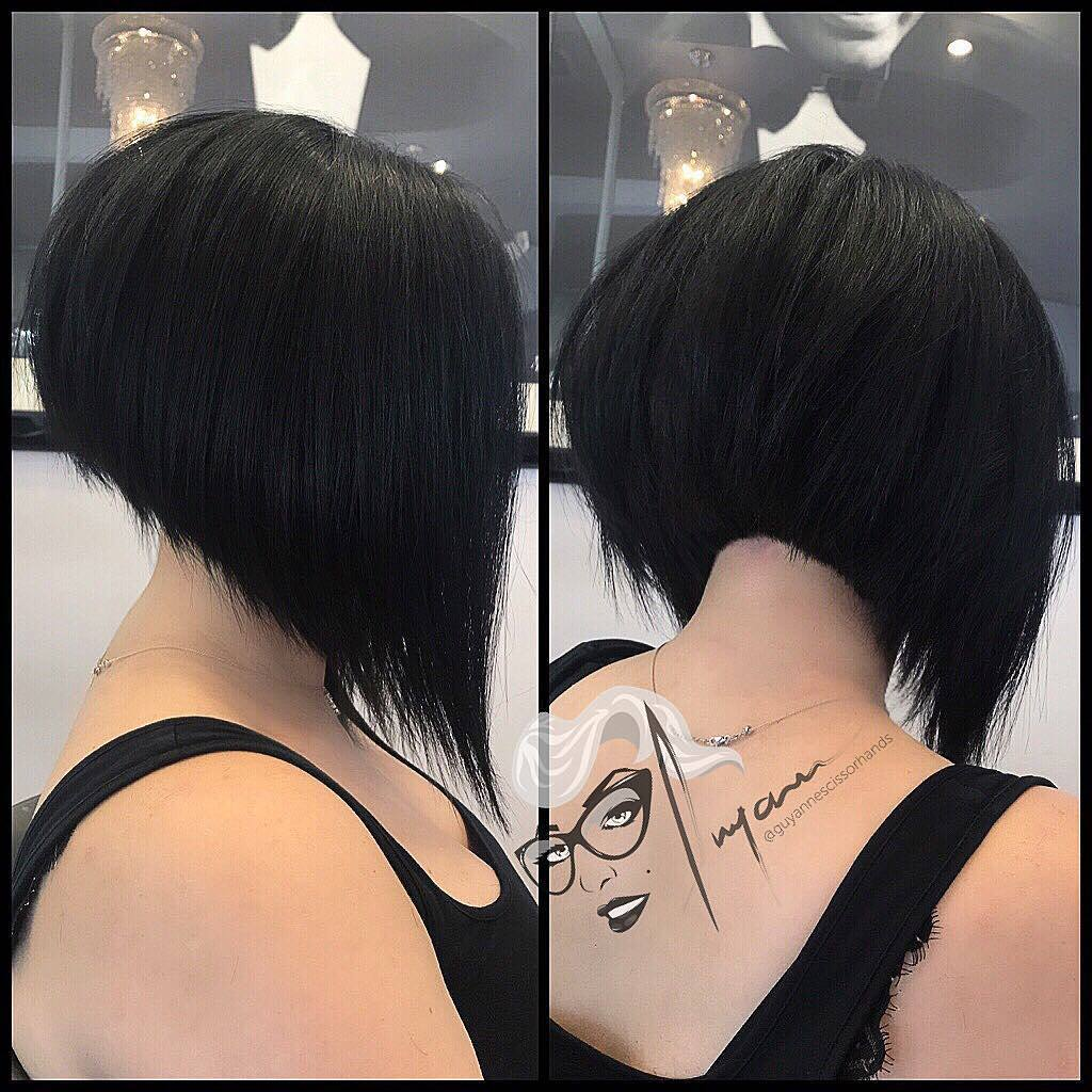 Short Straight Hairstyle - Short Hairstyles for Women and Girls </ figcaption> </ figure></p> <p> Thick hair needs strong lines and expert cutting to highlight its natural benefits such as shapely volume and density.  And the extreme, angled Bob <em> </ em> is one of the most popular short hair cuts, combining highly fashionable styling with a very easy-care hairstyle.  The stylist has created a fabulous feathery lace texture for an irregular, irregular detail contrasting with the neat line around the neck.  Medium or thick hair need only be carefully thinned and shaped at the tips to flow down to the front tips in this supergraduation!  </ P><br />  </ Pre><br />  <input type =