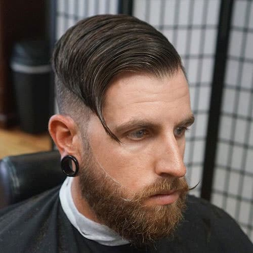 Comb over fading haircut for men