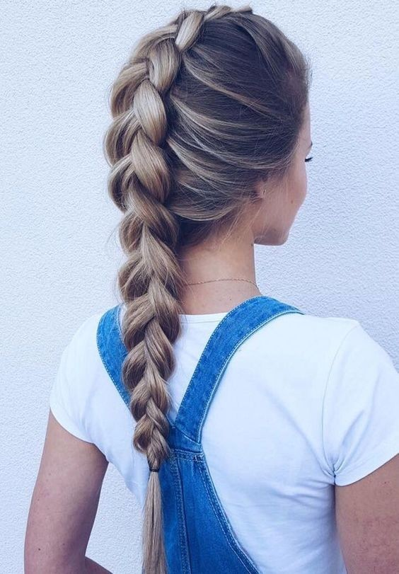 Cute, loosely braided hairstyles - pigtail tail with long hair