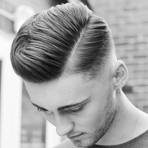 Comb over the fade style - haircut with string