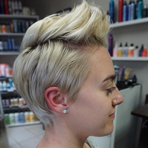 Blonde slicked-back pixie
