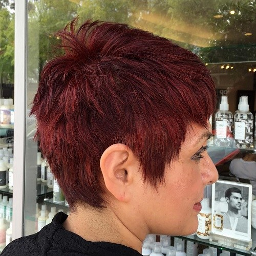 Wine Red Pixie </ figcaption> </ figure> </p> <p> One-toned mahogany hair installed, but a single color may lack depth. Give your beautiful red mahogany pixie a statement by inserting a variety of choppy layers of small and long stature. </ p> </p> <h3> Dark Gray Longy Cut: Pastel Short Haircut Designs </ h3> </p> <figure id =