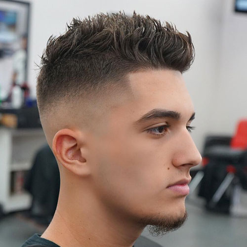 Cool trendy haircuts - Bald Fade with Shape Up and Spiky Hair