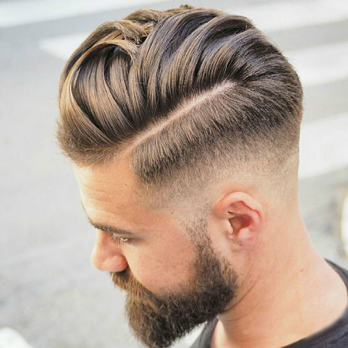 Nice Hairstyles - Low fade with hard part and comb