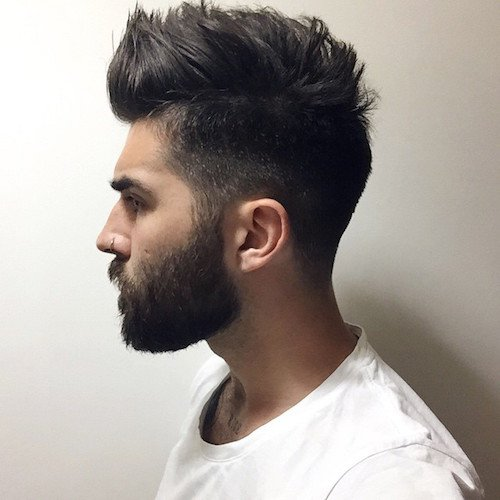 Short sides with brushed hair and beard