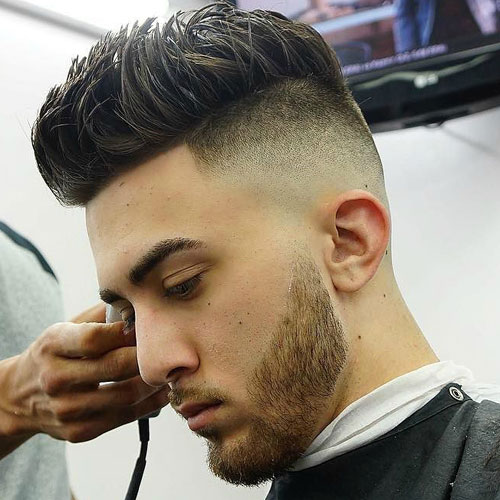 High skin fades with sharpened hair